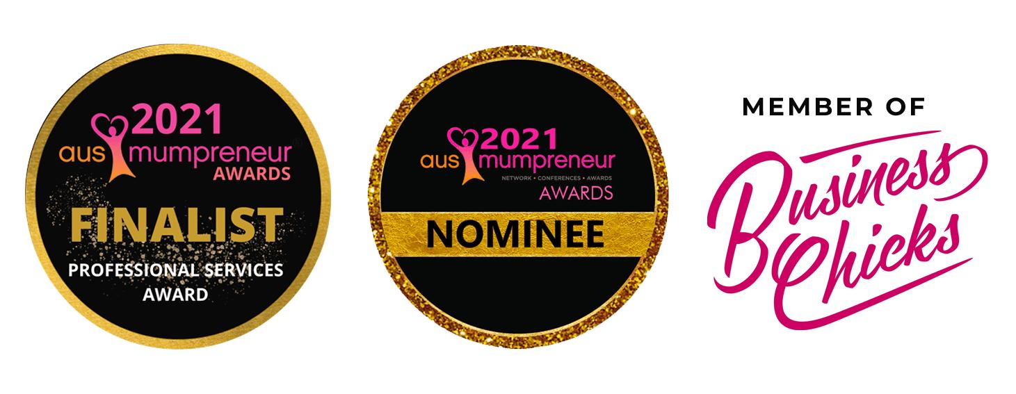 Emma Lovell Finalist Mumprenuer Awards 2021 and Member of Business Chicks